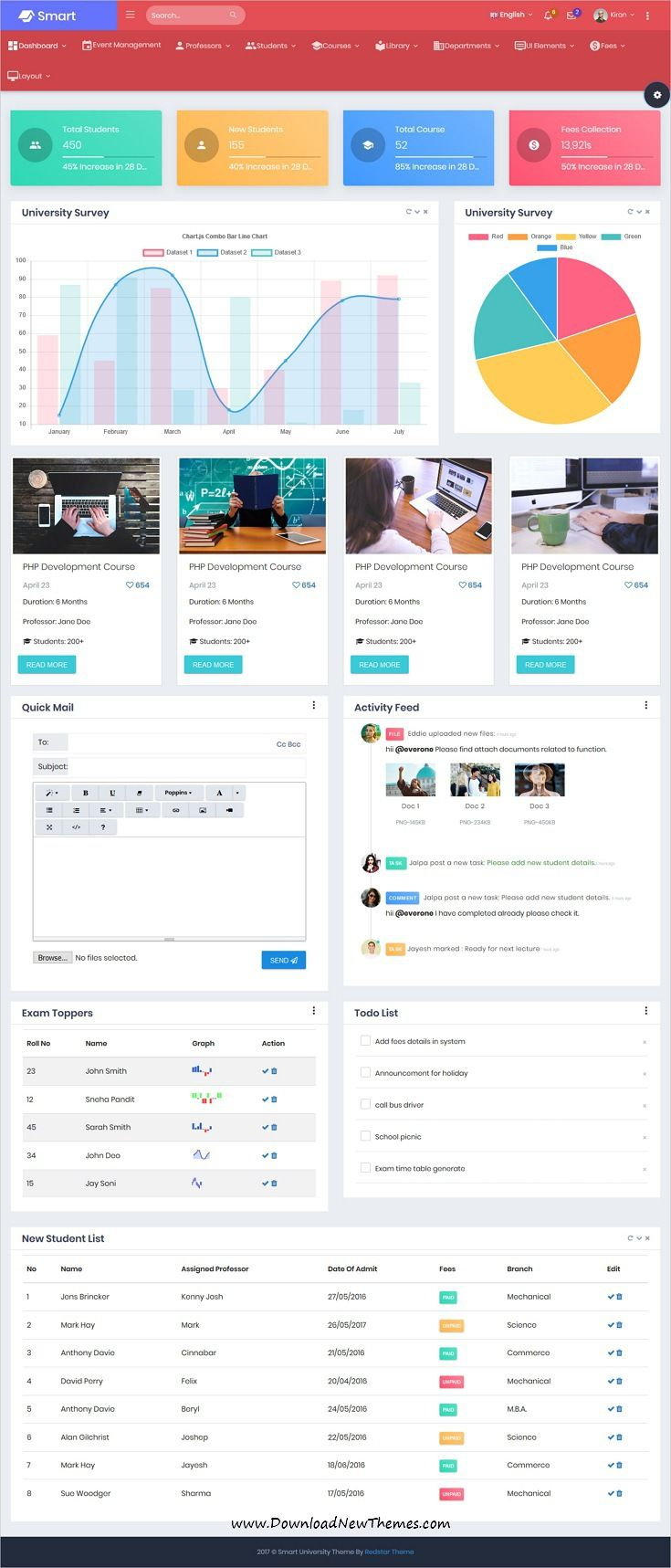 Smart - Bootstrap 4 Admin Dashboard Template for University, School ...