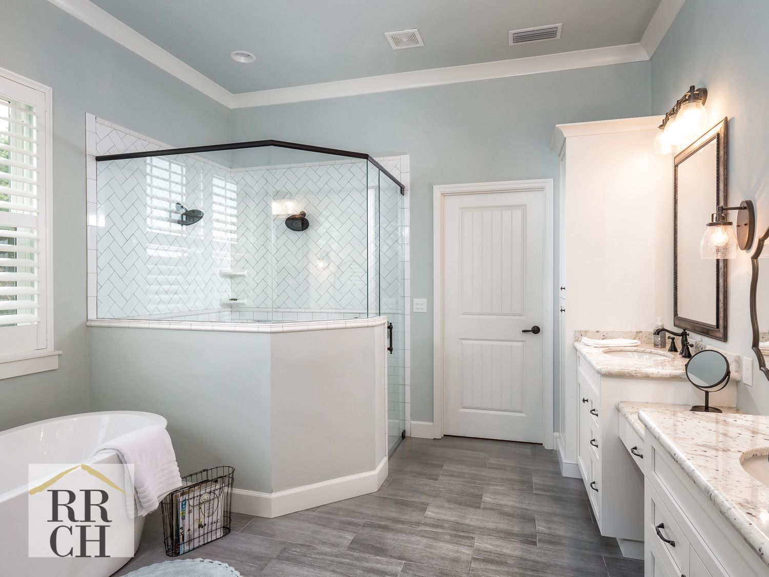 Master Bath Paint By Sherwin Williams In Sea Salt Color Freestanding Tub By Jacuzzi In Celes Bathroom Freestanding Corner Jacuzzi Tub Bathroom Remodel Master