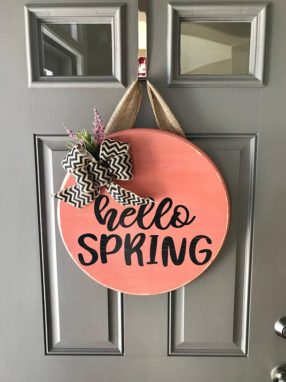 Hello Spring Door Hanger Front Door Decor Spring Wreath Wood Door Sign Spring Door Decor Coral Spring Door Decoration Wood Door Hangers Door Decorations