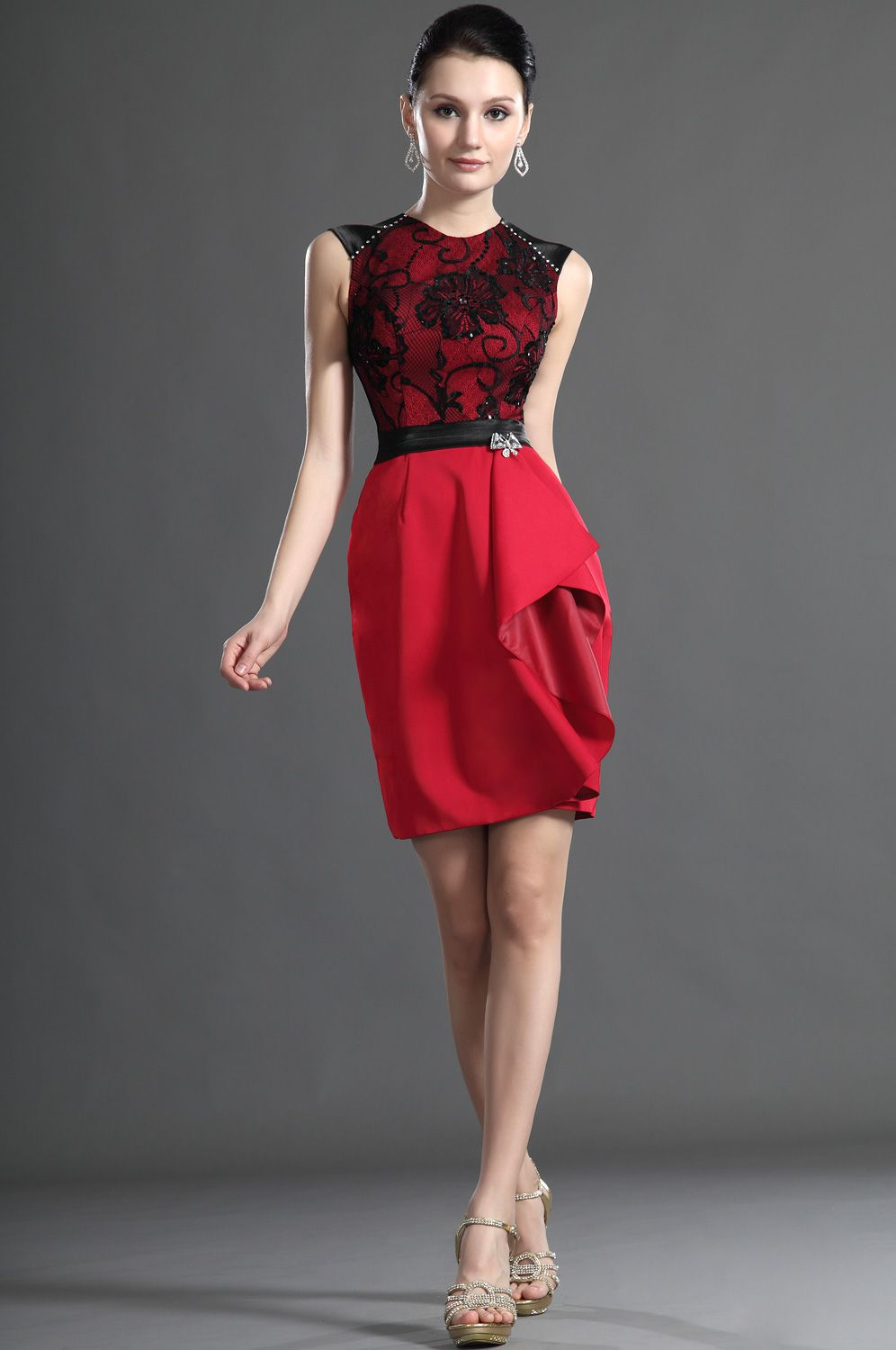 Usd edressit elegant sleeveless red lace mother of the bride