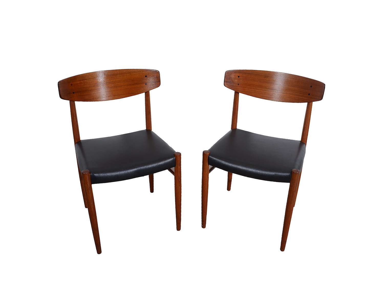 Four Teak Dining Chairs Black Leather Seats Danish Modern A. M. 501 ...