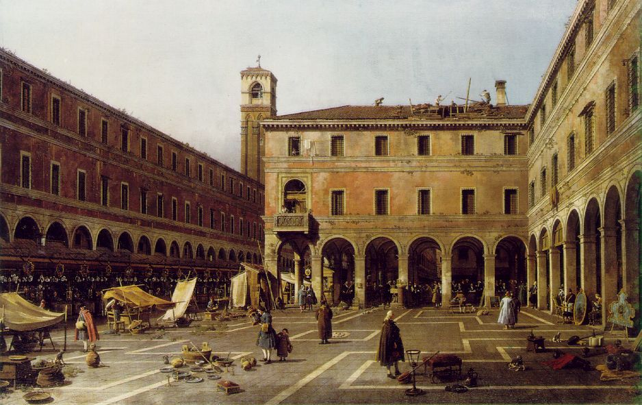 Giovanni Antonio Canal (1697 –1768),  Canaletto  The Campo di Rialto  c. 1758-63  Oil on canvas  46 7/16 x 72 1/2 in (119 x 186 cm)  Gemaeldegalerie, Berlin