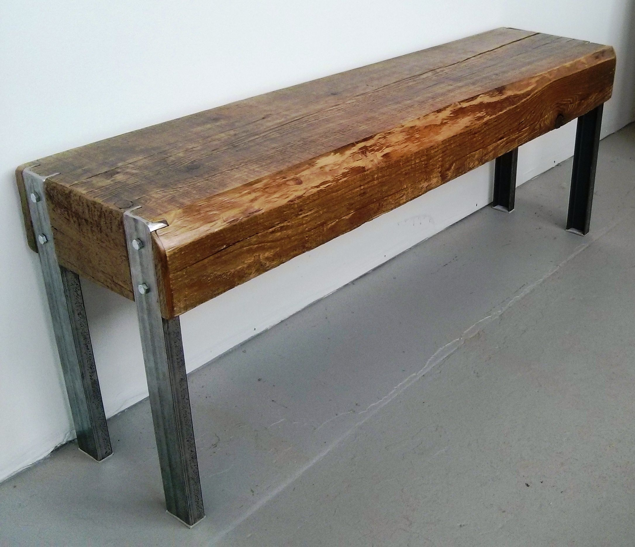 Hand made reclaimed cedar box joint bench coffee table by - Reclaimed Barn Beam And Steel Bench By Barnboardstore Com