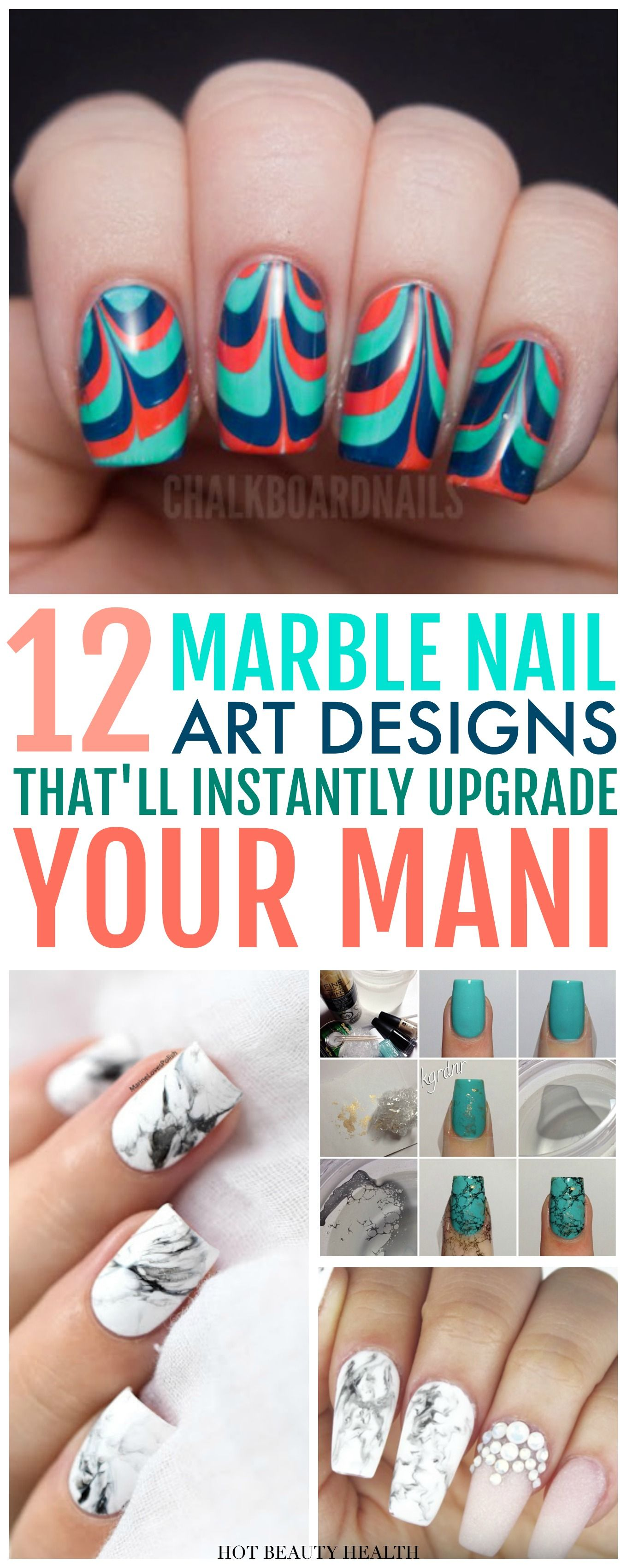 Obsessed With Marble Nail Art And Want To Learn How Do It Here Are 12 Diy Designs That Worth Copying Water Polishes
