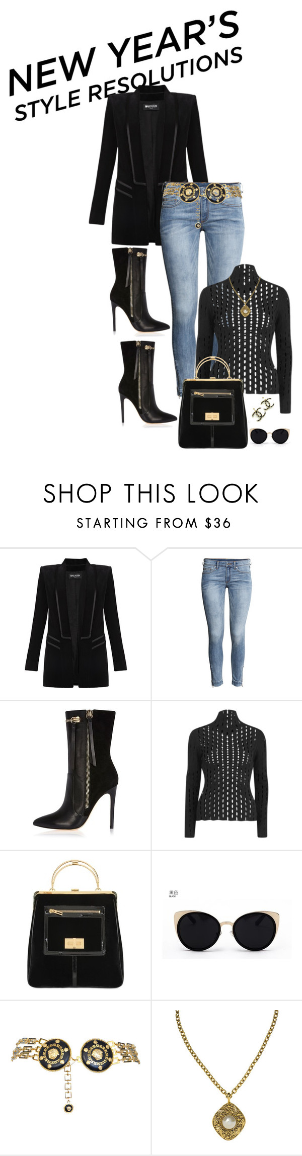 """Woman Of Power"" by amanningc ❤ liked on Polyvore featuring Balmain, H&M, River Island, Alexander Wang, Una-Home, Versace and Chanel"