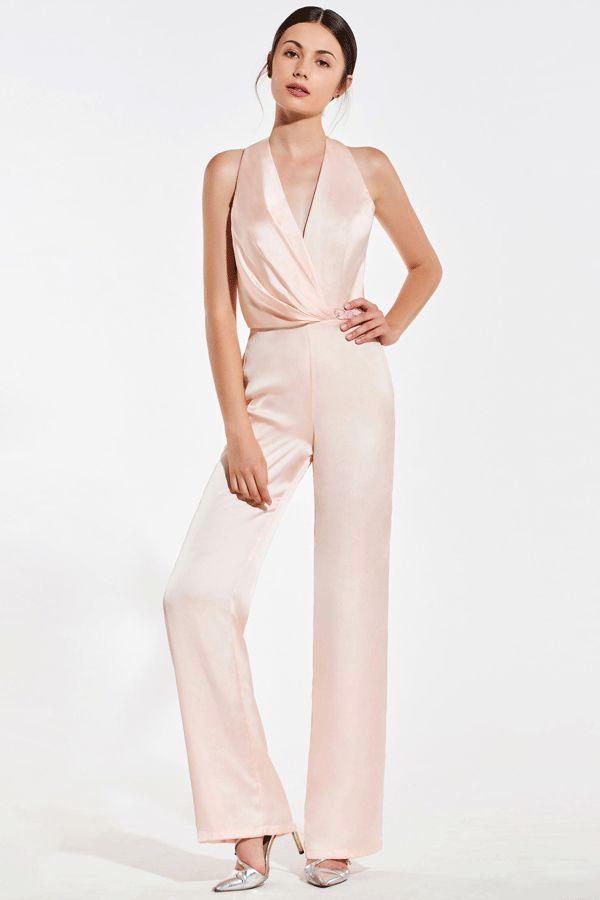 $112.99 Dresswe.com SUPPLIES V-Neck Halter Backless Bridesmaid Jumpsuit #bridesmaidjumpsuits