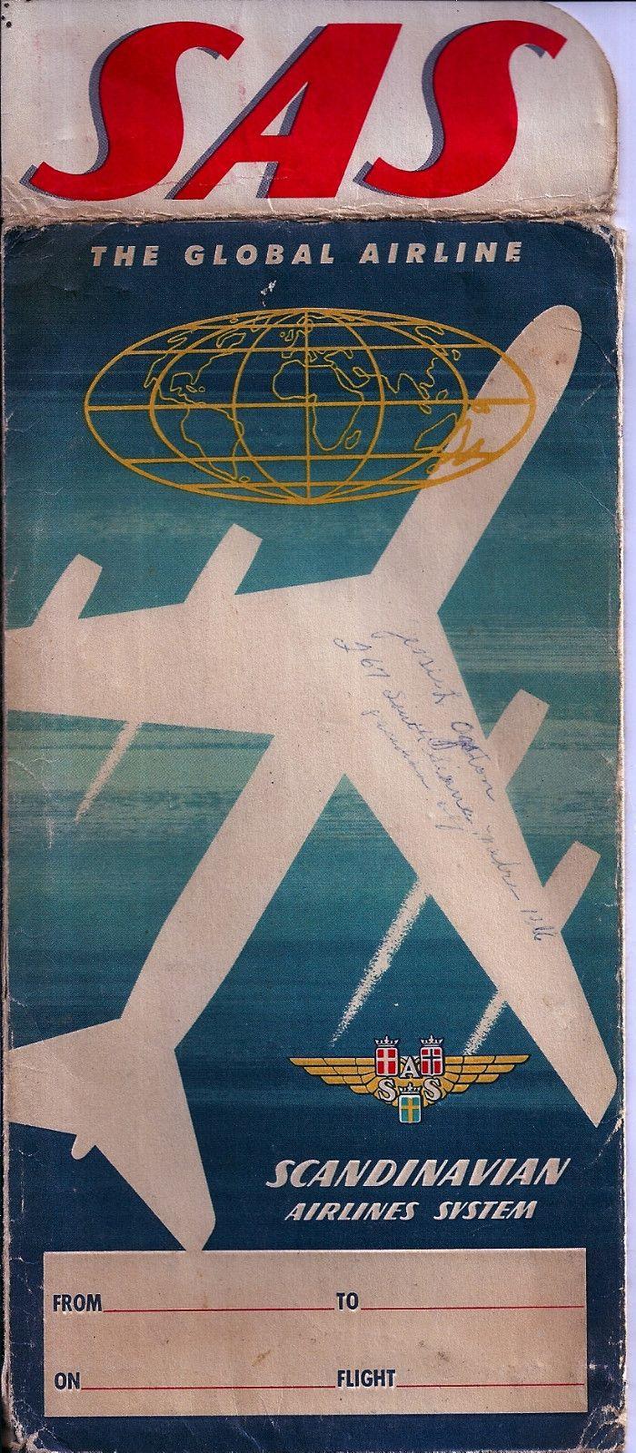 Scandinavian Airlines System Dc 8 Ticket Jacket 1958 Danmark