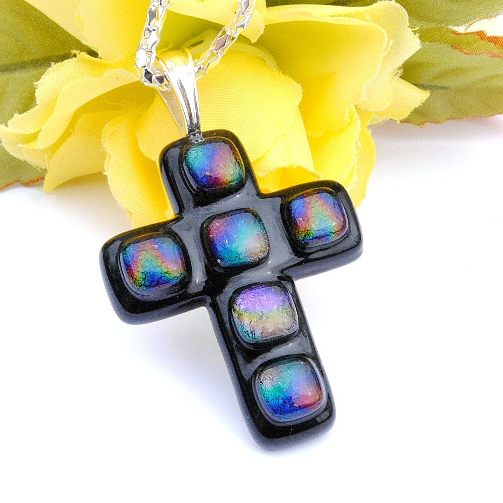 Image detail for -Large Cross Pendant, Dichroic Fused Glass, Fused Glass Jewelry ...