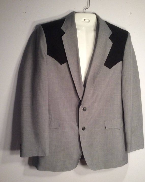 Circle S Western Men S Suit Vintage Gray And Black 44 Long