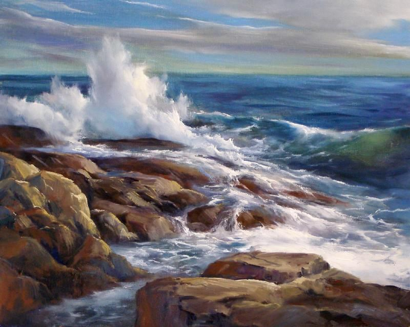 Crashing Waves Magnolia Ma Oil On Canvas Andrew Orr Ocean Painting Seascape Paintings Sea Painting