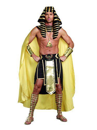 d9dff7828ed Dreamgirl Men's King of Egypt King Tut Costume, Black/Gold, Large ...