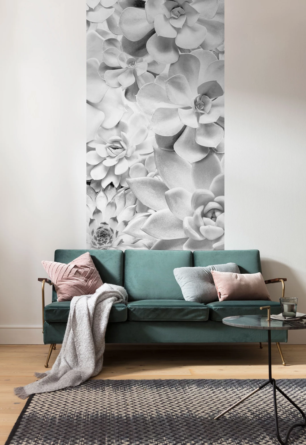 White Succulents Mural Wallpaper White paneling, Mural