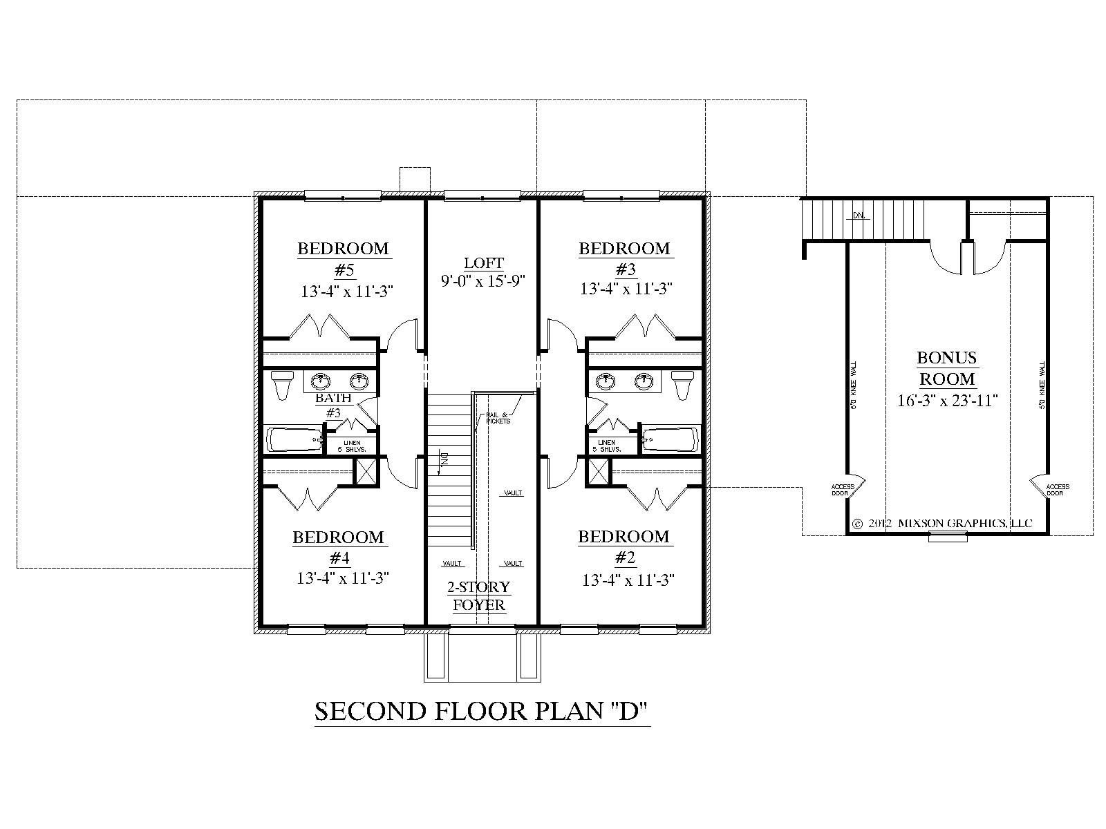 House plan 3397 d albany d second floor house plans by for Upstairs floor plans