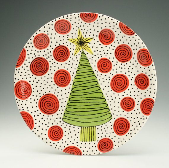 """12"""" Poinsettia Serving Platter Hand Painted Christmas Holiday Dinnerware 
