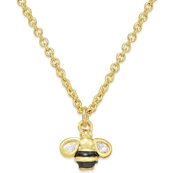 kate spade new york 12k Gold-Plated Bumblebee Pendant Necklace featuring polyvore women's fashion jewelry necklaces gold bee pendant necklace bee necklace gold plated pendant necklace kate spade necklace wing jewelry