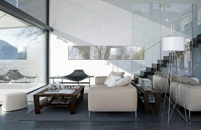 Wohnzimmer Fliesen Graue Bodenfliesen Holztisch Helle Einrichtung