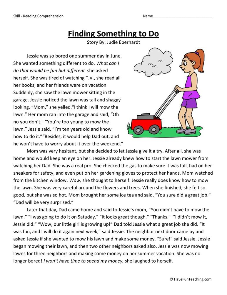 Finding Something To Do - Reading Comprehension Worksheet ...