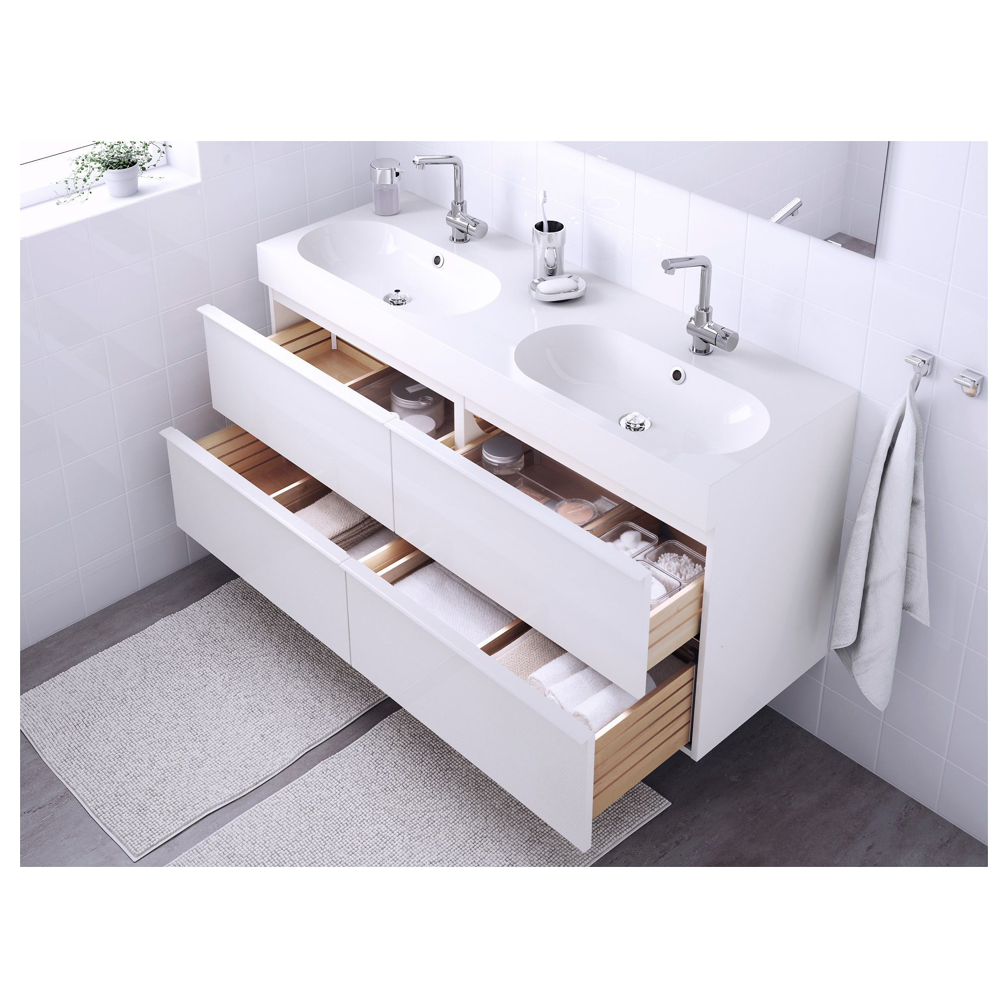 Godmorgon Braviken Sink Cabinet With 4 Drawers High Gloss White