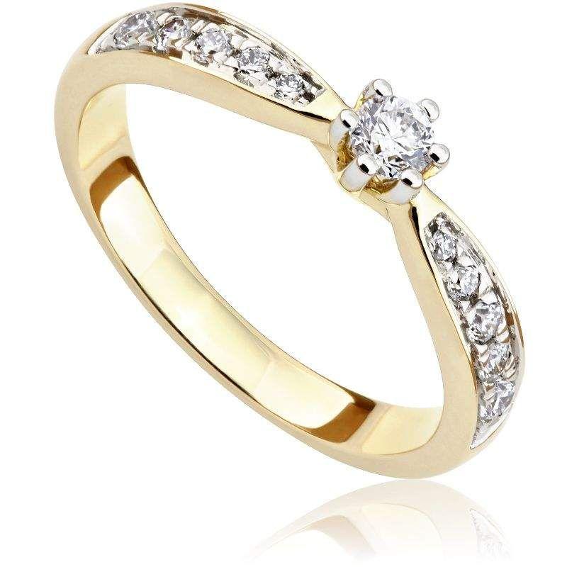Pierścionek Zaręczynowy Z Diamentami Z żółtego Złota P0548zb