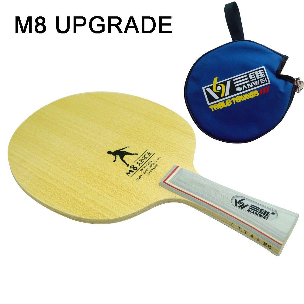 New Sanwei M8 Junior Professional Table Tennis Blade Ping Pong Blade Table Tennis Bat Send Cover Case