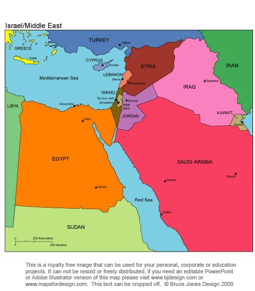 Middle East Israel Royalty Free Printable Blank Jpg Map - Map of egypt printable