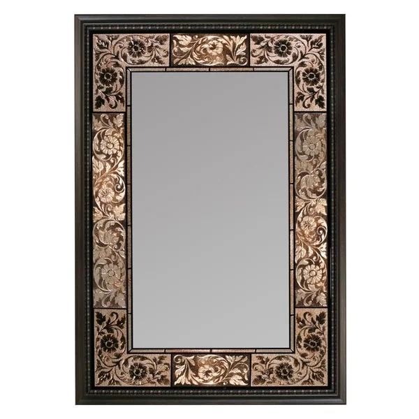 Headwest French Tile Rectangle Wall Mirror Brown 25 5 X 37 Fancy Mirrors Mirror Wall Mirror Tiles