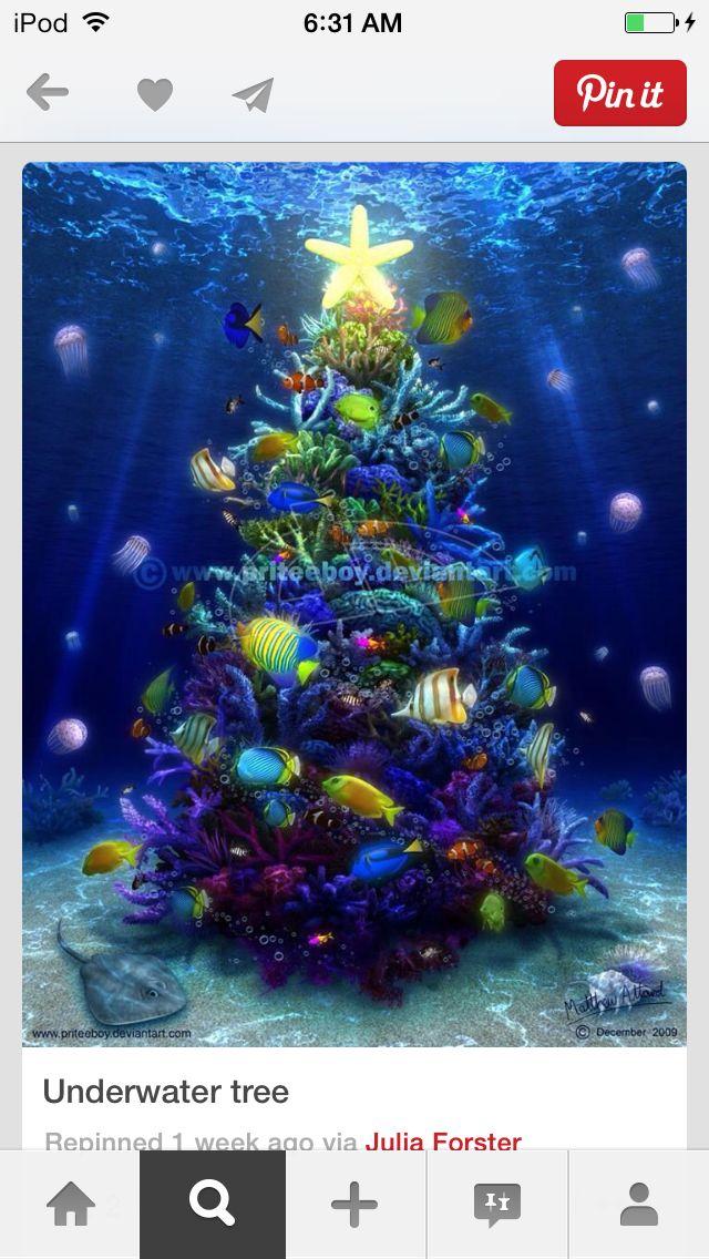 Underwater Christmas Tree Beautiful Christmas Trees Beachy Christmas Tropical Christmas