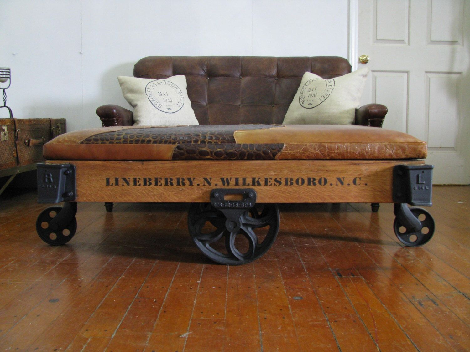 Refurbished/Restored Authentic Original Lineberry Industrial/Railroad/Factory  Cart/ Bench/ Cocktail