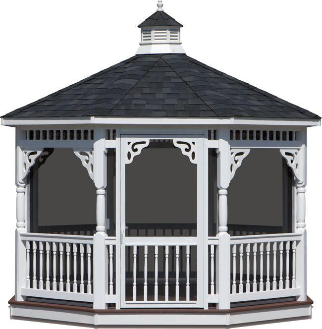ALL GAZEBO PARTS ARE HERE:  Vinyl Screen Package - Includes 3' Screen Door,Screen Under Flooring,Vinyl Benches,Madison Post,Madison Rails,Victorian Brace,Fan Brace,Bell Roof,6' Double Screen Door (will not fit in all sizes of Gazebos, Upgrade to Metal Roof,Pet Proof Screens, Add a Vinyl Step