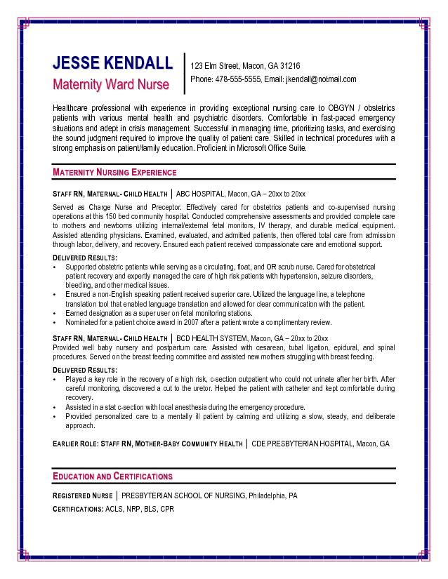 nursing resume cover letter examples maternity ward nurse sample - sample resume for a nurse