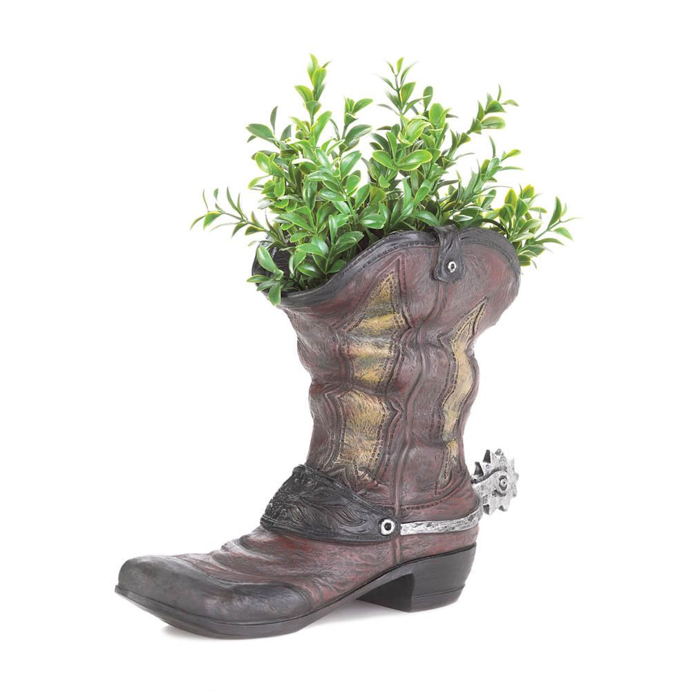 New Spurred Cowboy Boot Planter Indoor Outdoor Western Decor Yard Garden  #Unbranded #Western