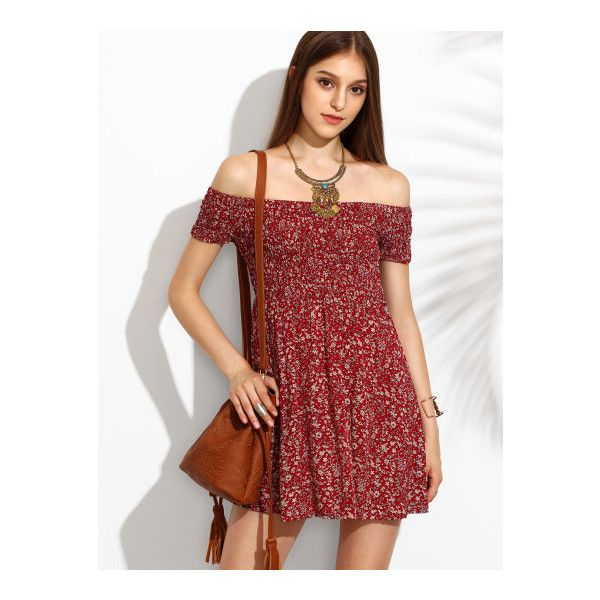 5d3081e308 SheIn(sheinside) Red Floral Print Off The Shoulder Flare Dress ($18) ❤  liked on Polyvore featuring dresses, red, short-sleeve maxi dresses, floral  dresses, ...