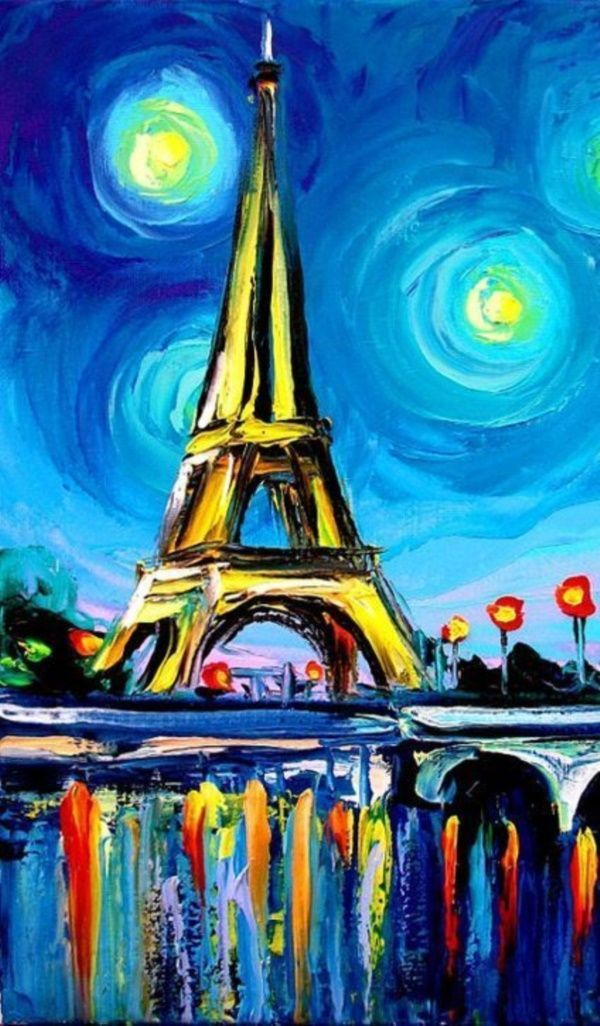 Eiffel Tower colorful painting. Easy acrylic painting