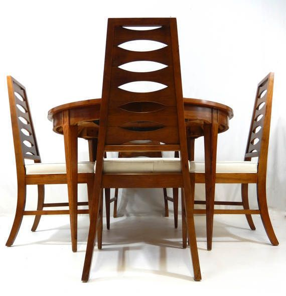 Mid Century Modern Dining Set Table W 4 Cat Eye Ladder Back Chairs