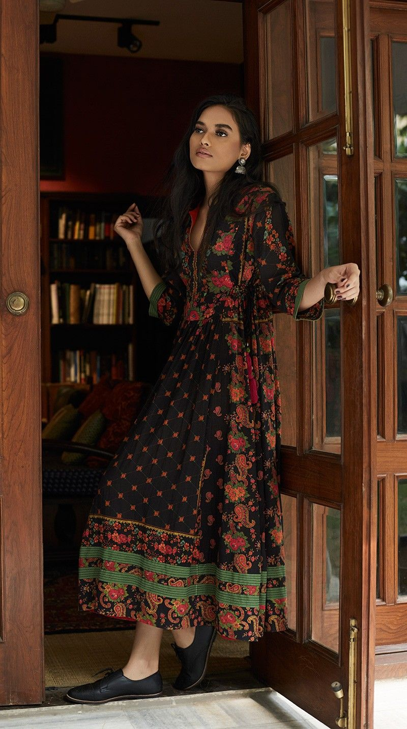 Black long kurta with floral print clothes pinterest indian