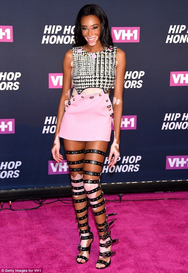 1a868dd6e04 Daring! Winnie Harlow made sure that her perfect pins were the centre of  attention as she stepped out in a pair of thigh-high strappy sandals for  the VH1 ...
