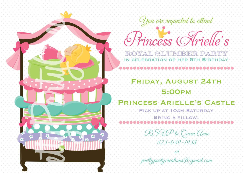 The Princess And Pea Sleepover Invitation You Print