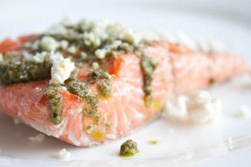 Poached salmon with pesto and feta