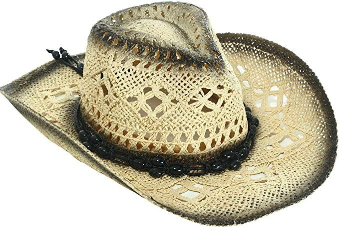 e4fbd9aa45d1fd Livingston Men & Women's Woven Straw Cowboy Hat w/Hat Band Décor, Bead Black