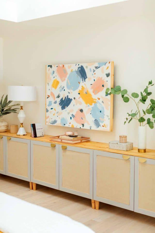DIY Ikea TV Stand: How to Hack A Rattan Ikea TV Unit - Sugar & Cloth