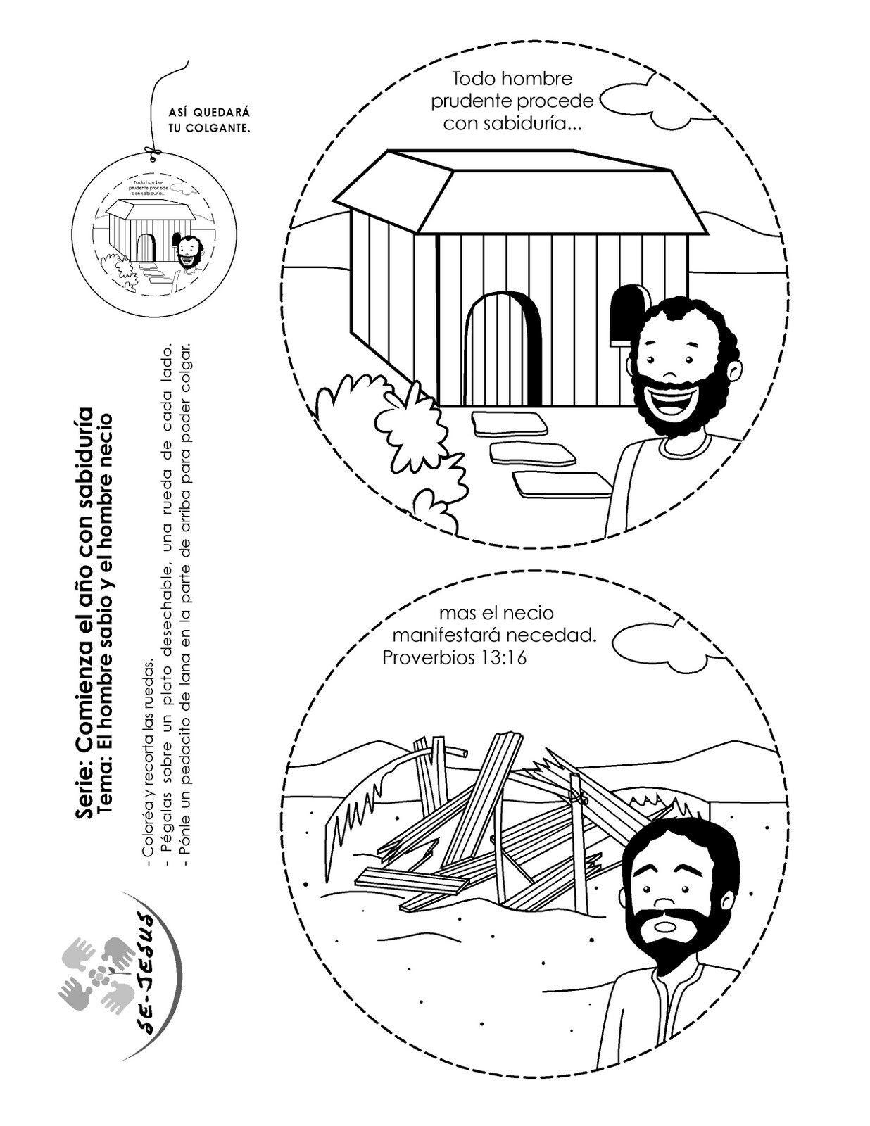 Móvil Sobre El Hombre Que Edificó Su Casa En La Roca Y Del Que Edificó Sobre La Arena Bible Crafts Sunday School Crafts Sunday School Activities