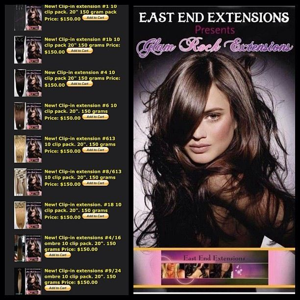"Sale on website now!  ONLY 1 pack needed for most full heads! Check out my new colors in clip-ins from my line Glam Rock Extensions! Available now! Double wefted! Very thick! Www.eastendextensions.com  Wash,air dry then curl or flat iron with ease!  Full packs are 150 grams of hair!  100% Human Hair 10 piece pack. 20"" & 24""!"