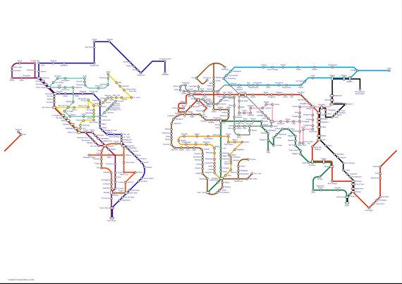 A subway map tube map metro map of the world a3 size 16in x a subway map tube map metro map of the world a3 size 16in x 12in approx world map art print gumiabroncs Images