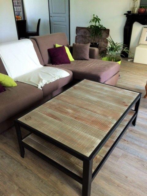 Table basse double plateau style industriel scandinave bois acier artisanale - Table de salon industrielle ...