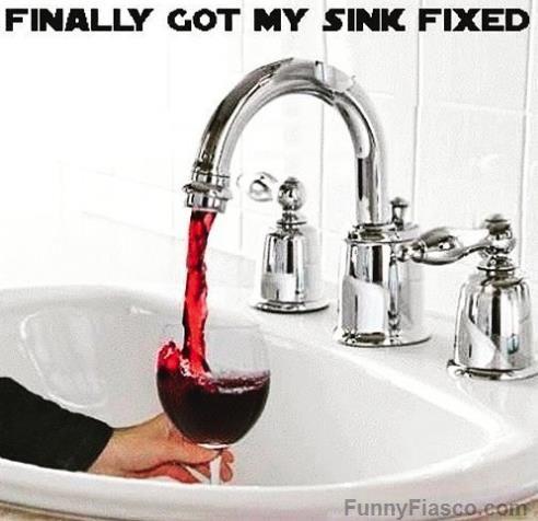 Finally Got My Sink Fixed Funny Pics Funny Wine