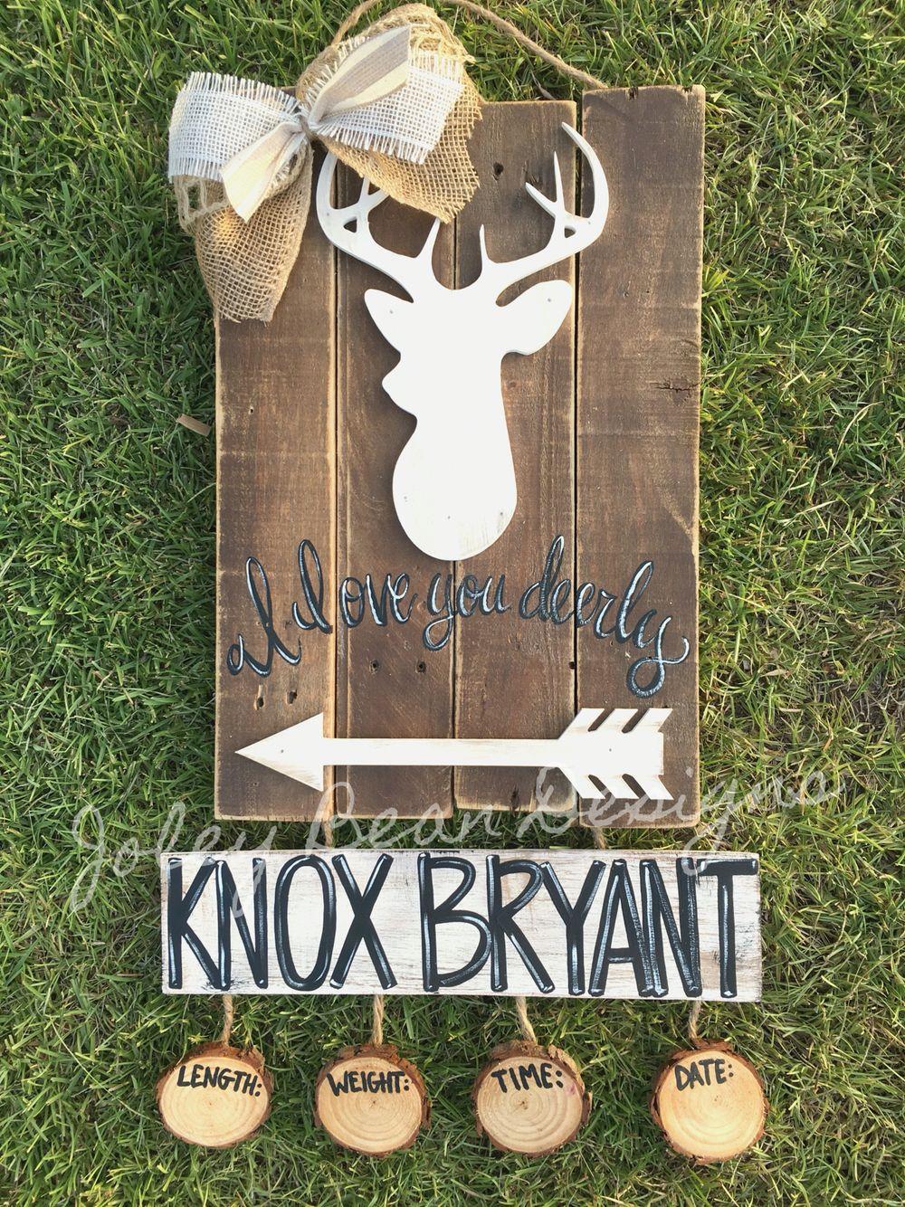 Joley Bean Designs, deer door hanger, hospital door hanger