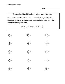 fraction worksheet  fractions  fractions fractions worksheets  converting mixed numbers to improper fractions common core aligned
