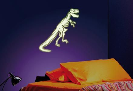 everything dinosaurs glow in the dark t.rex wall sticker. expose to
