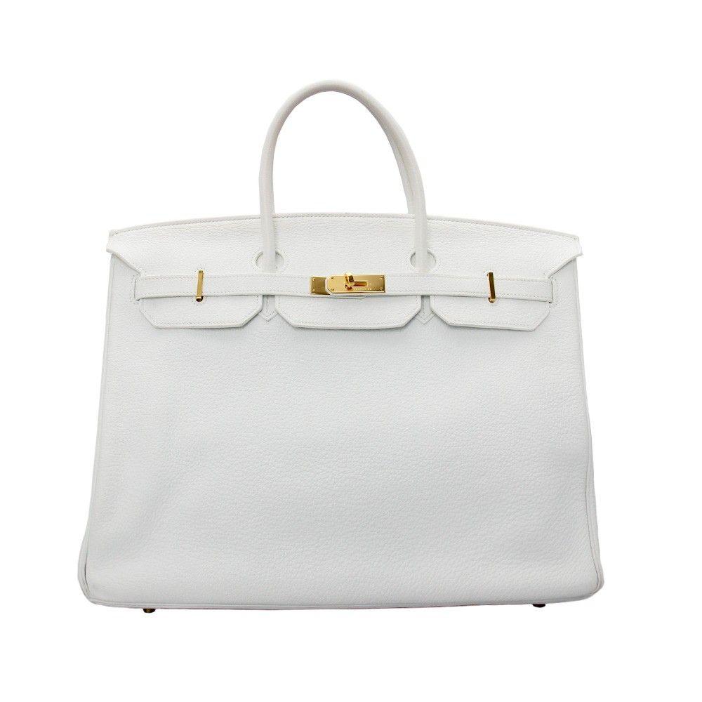 hermes register   www.whisp.com Hermes White Leather 40cm Birkin Bag ... db74fd9f478b1