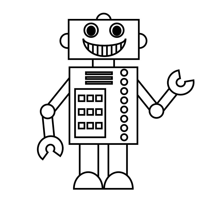 Smile Cute Robot Coloring Pages Shape Coloring Pages Coloring Pages For Kids Coloring Pages